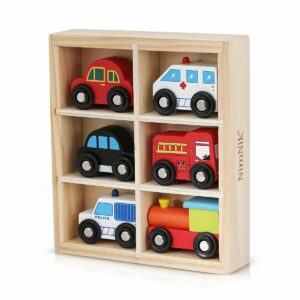 NimNik Wooden Toys Cars Bus Engine Emergency Vehicles Educational Toy for Early Learning for Toddlers