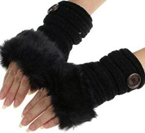 Sale Clearance Fashion Women Girl Warm Winter Faux Plush Wrist Fingerless Gloves
